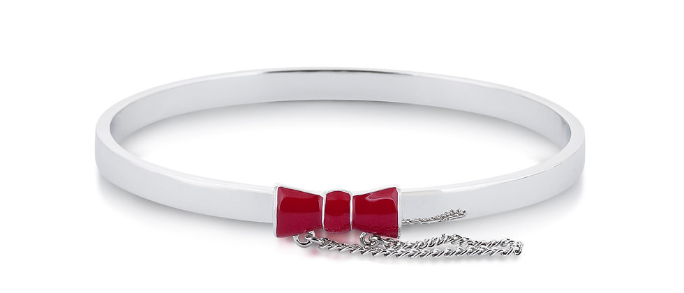14ct white gold plated Disney Minnie Mouse Red Bow Bangle