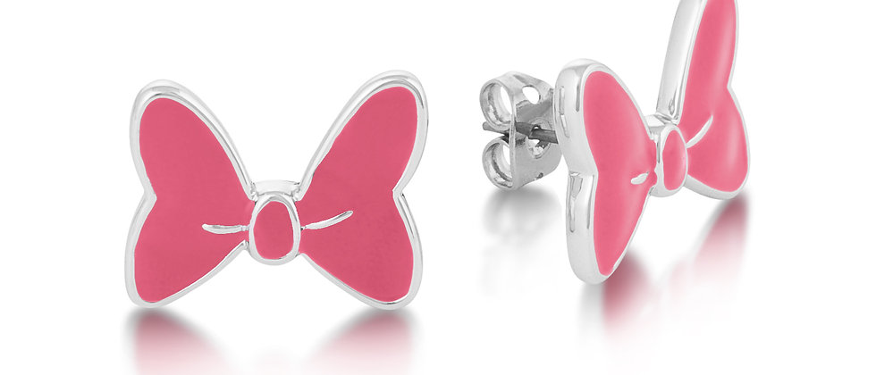 Minnie Mouse Bow Earrings - 14ct white gold plated Pink enamel