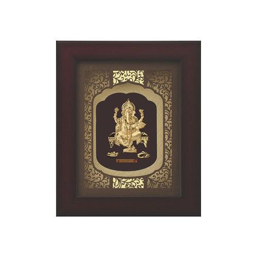 24kt gold foil Ganesha Solid Carving Rosewood Frame
