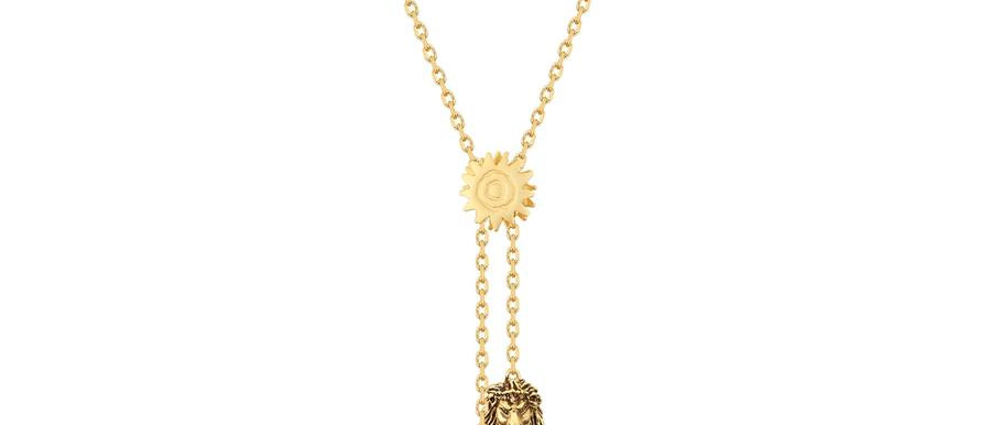 14 ct yellow gold plated Disney The Lion King Simba vs Scar necklace