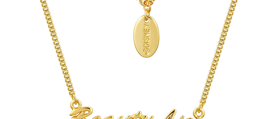 14ct yellow gold plated Disney Beauty and the Beast 'Beauty Lies Within' Necklace