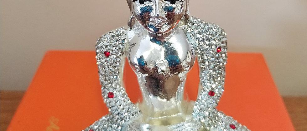 Silver Plated Parshwanathji  Idol with Diamonds