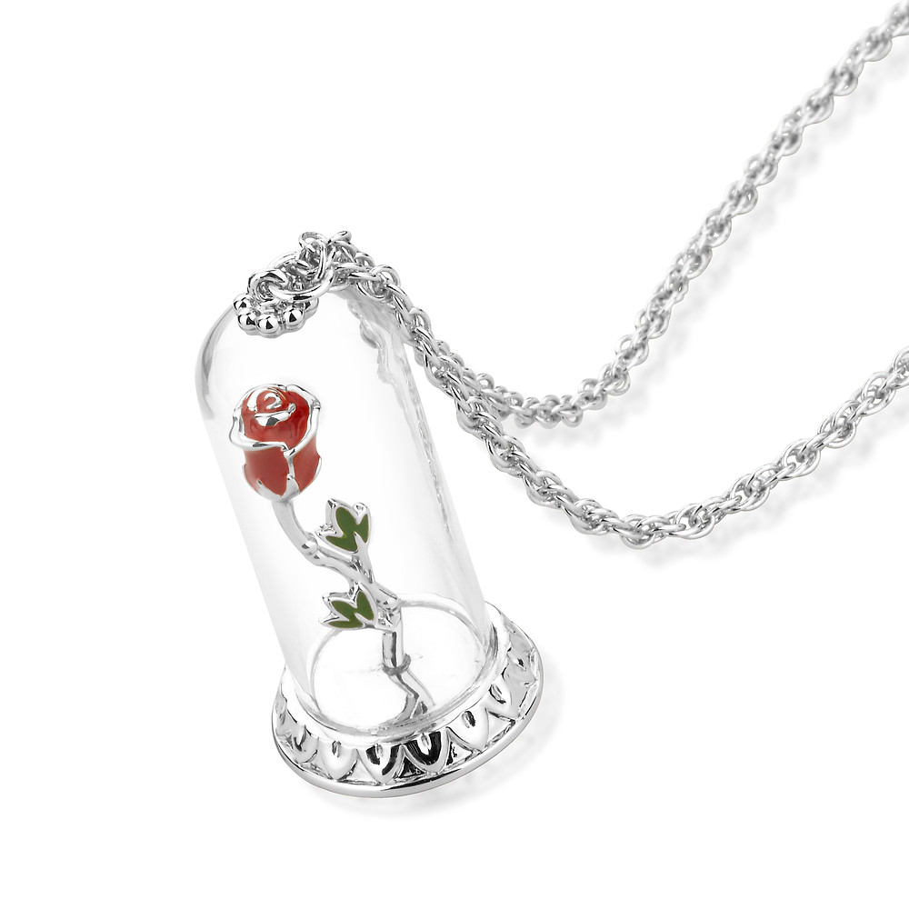 14ct white gold plated Disney Beauty and the Beast enchanted rose necklace