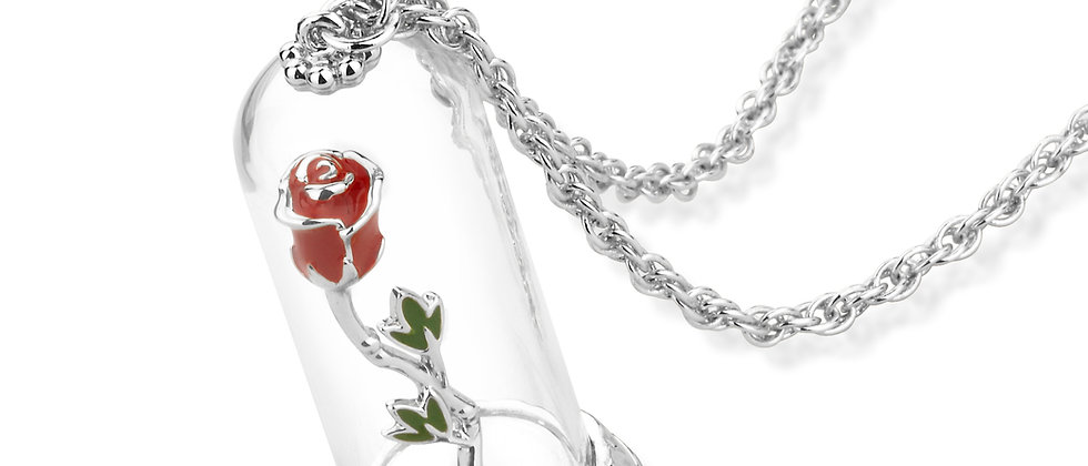 Disney Beauty & The Beast Enchanted Rose Necklace