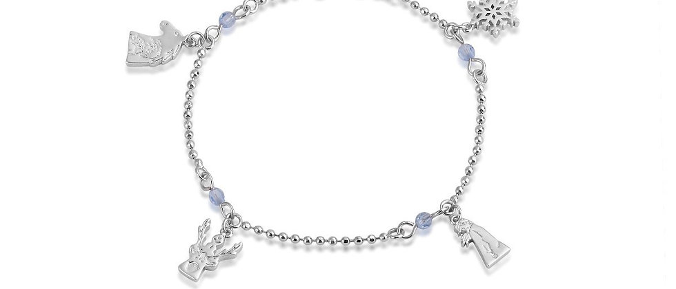 14ct white gold plated Disney Frozen 2 characters charms bracelet