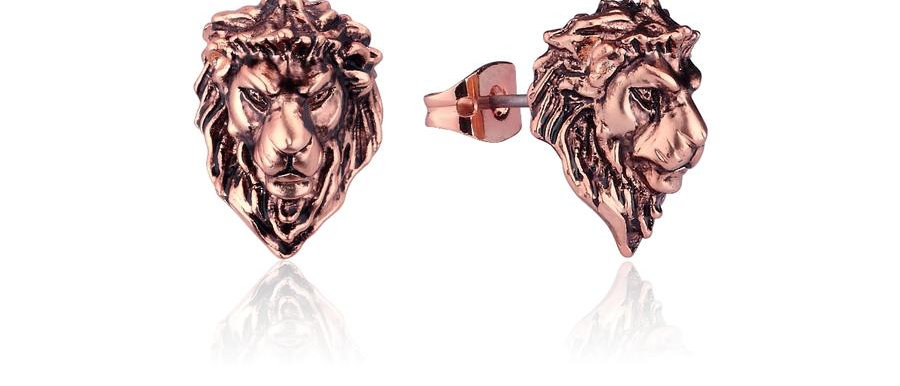 14ct Rose gold plated Disney The Lion King Simba Stud Earrings