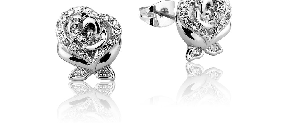 14ct white gold plated Disney Beauty and the Beast enchanted crystal rose stud earrings