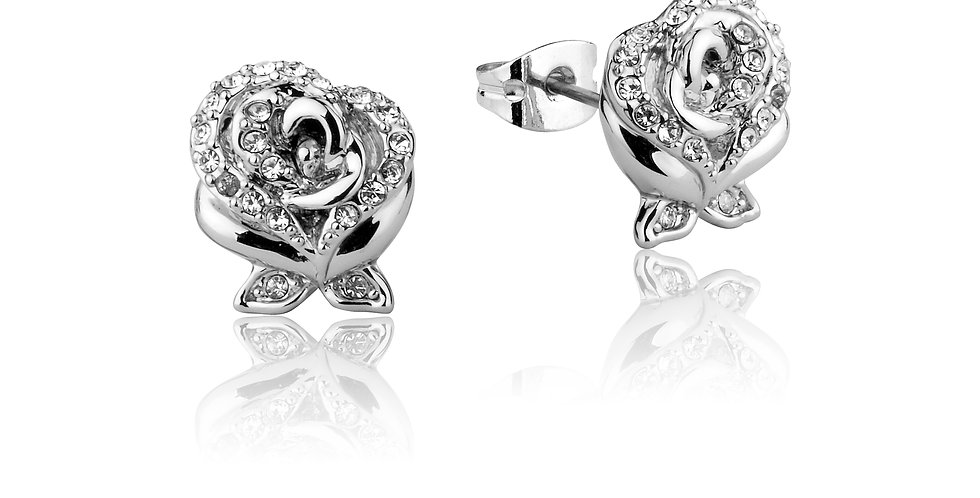 White Gold Plated Beauty and the Beast Enchanted Rose Stud Earrings
