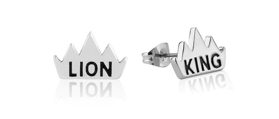 14ct white gold plated Disney The Lion King Crown Stud Earrings