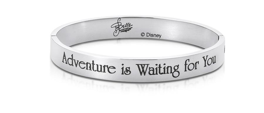 14ct white gold plated Disney Beauty and the Beast Princess Belle Bangle engraved with 'Adventure is waiting for you'