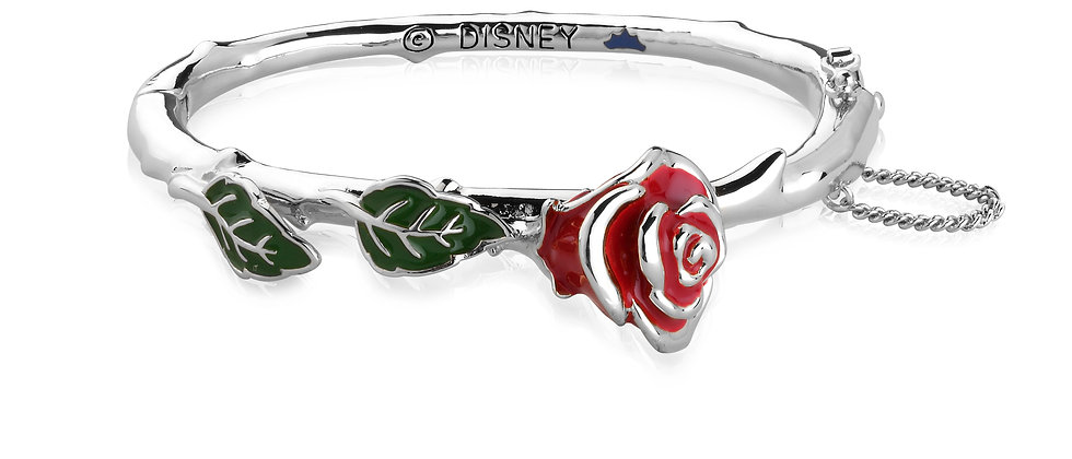 White Gold Plated Beauty and the Beast Enchanted Rose Bangle
