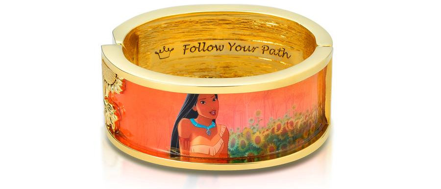 14ct yellow gold plated Disney Pocahontas film frame covering bangle with message - Follow your path