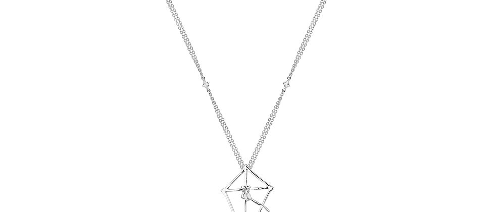 14ct white gold plated Disney Mary Poppins Kite Necklace - Let's go fly a kite