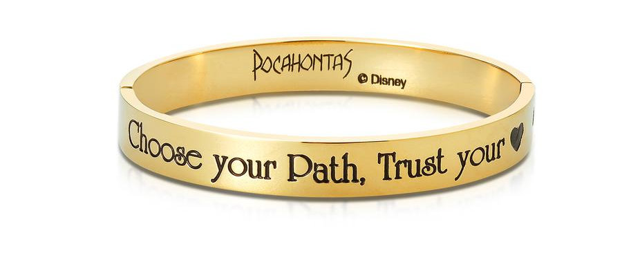 14ct yellow gold plated Disney Pocahontas bangle with message 'Choose your path, trust your heart'