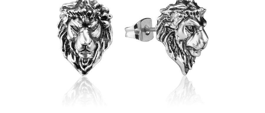 14ct white gold plated Disney The Lion King Simba Stud Earrings