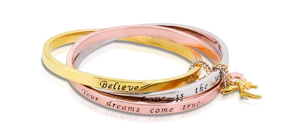 Disney Tinkerbell Interlocking Bangle engraved with Believe, Your dreams come true & love is the way.