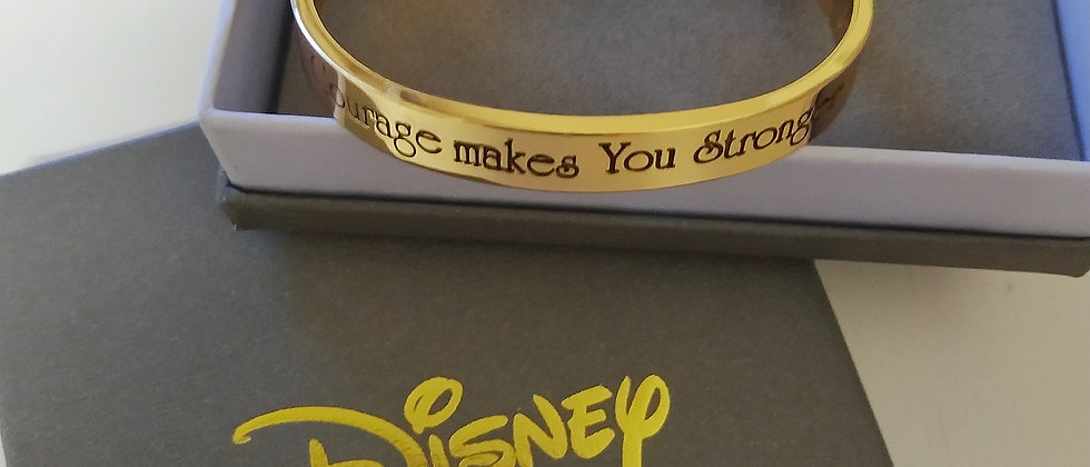 Gift Combo of Shungite Bracelet with 14ct gold plated Disney Mulan Bangle engraved with 'Courage Makes you Stronger'