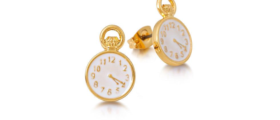 Yellow Gold Plated Disney Alice in Wonderland Clock stud earrings