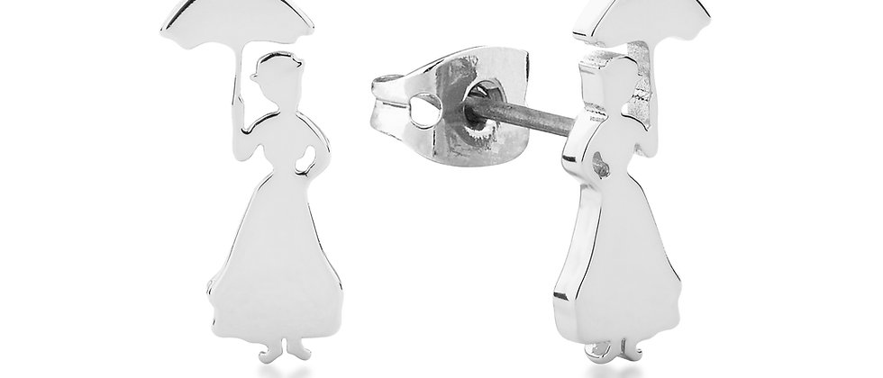 14ct white gold plated Disney Mary Poppins stud earrings