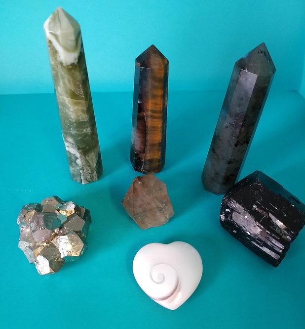 Crystal Collection - Pyrite, Tiger's Eye, Labradorite, Natural Citrine