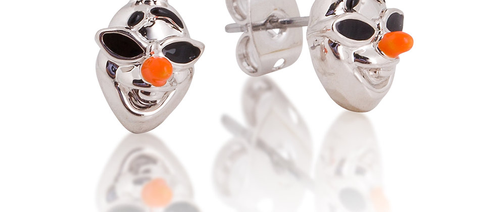 14ct white gold plated Disney Frozen  2 Olaf stud earrings