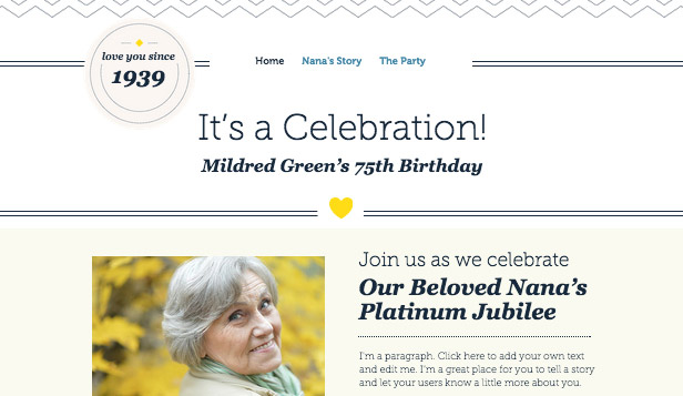 Events website templates – Adult Birthday Invitation