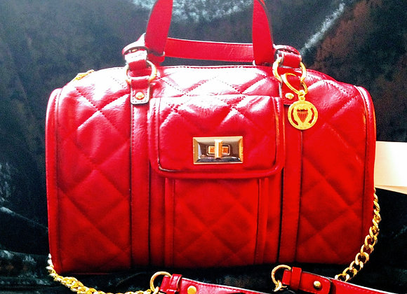Red Quilted Satchel 100