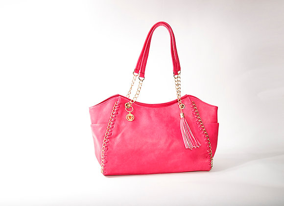 Pink Chain Accent Tote