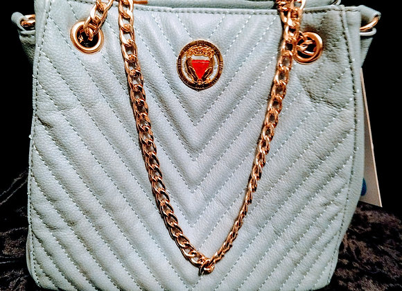 Baby Blue Quilted Satchel