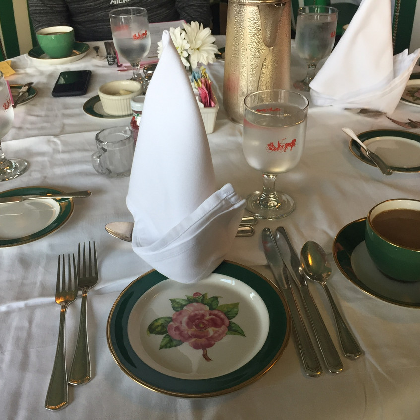 Breakfast table setting at The Grand Hotel