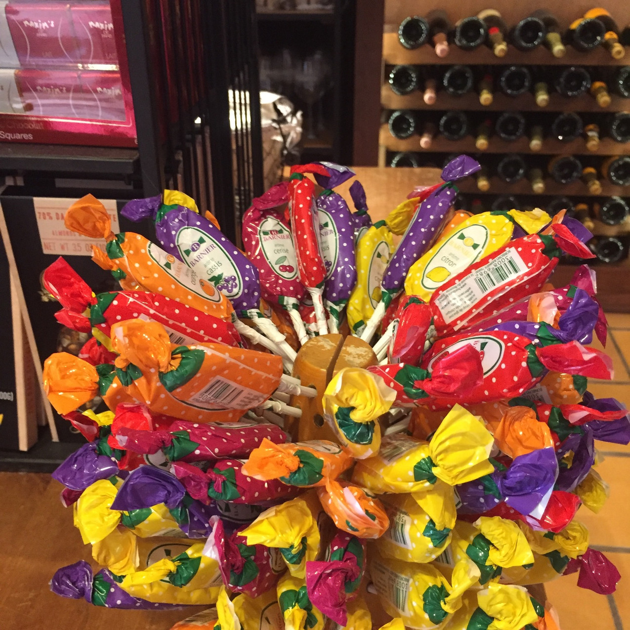 A bouquet of lollipops from the France pavilion.