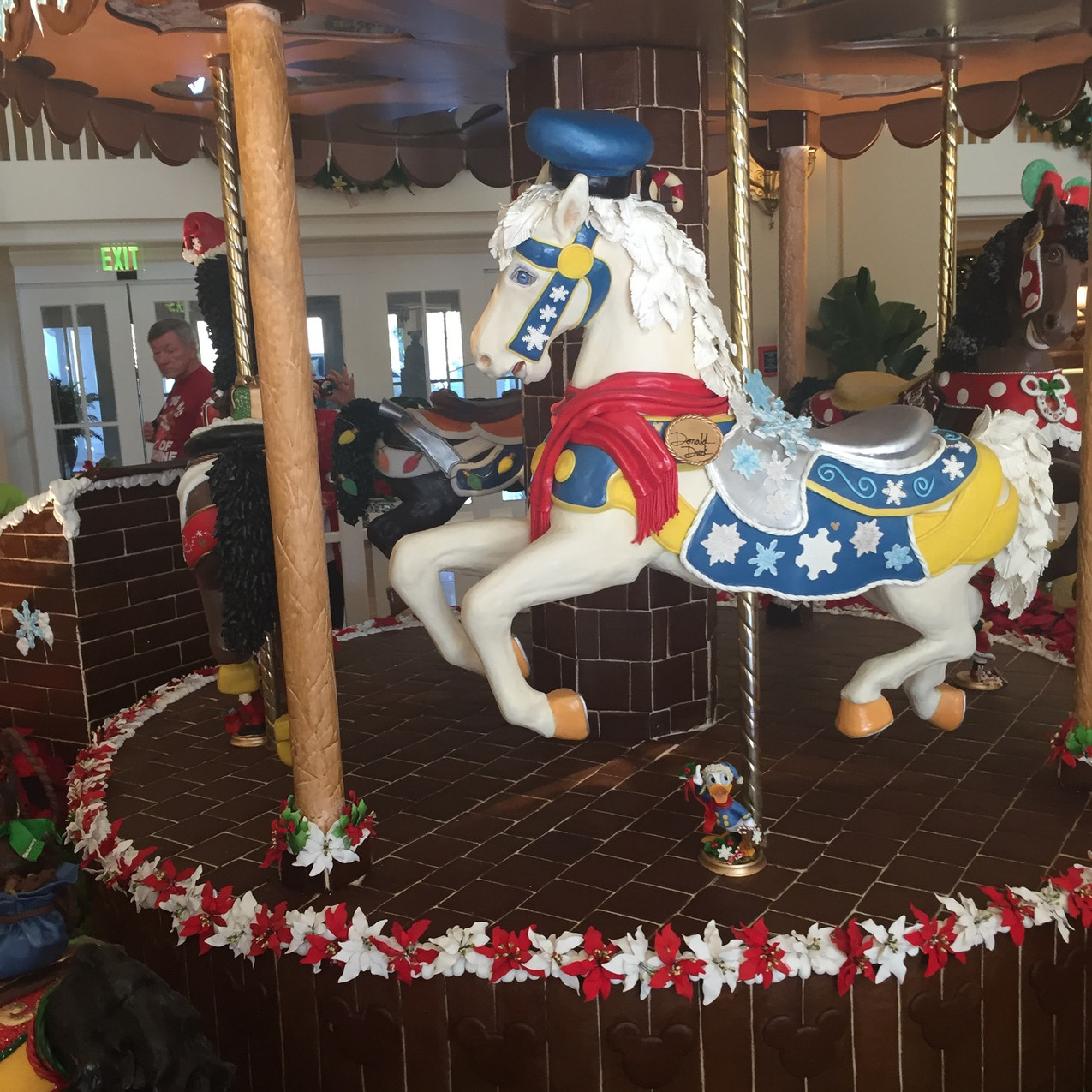 The lobby of the Beach Club fills with the scent of chocolate from this massive chocolate carousel.
