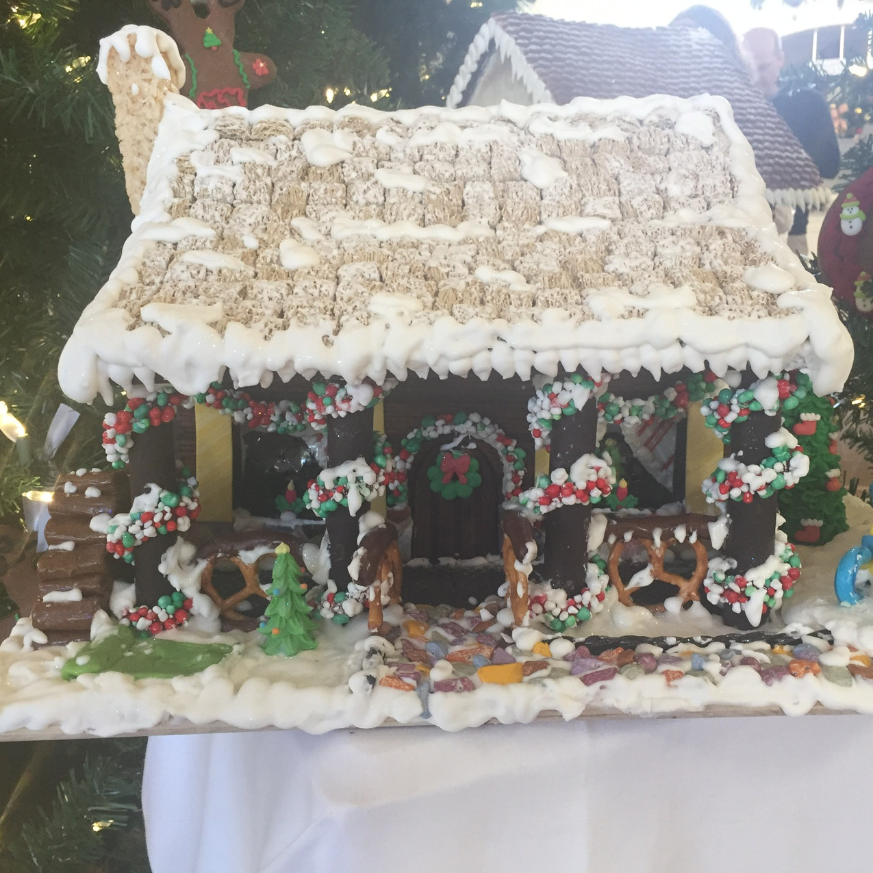 The Boardwalk Inn has a display of gingerbread houses created by the chefs.