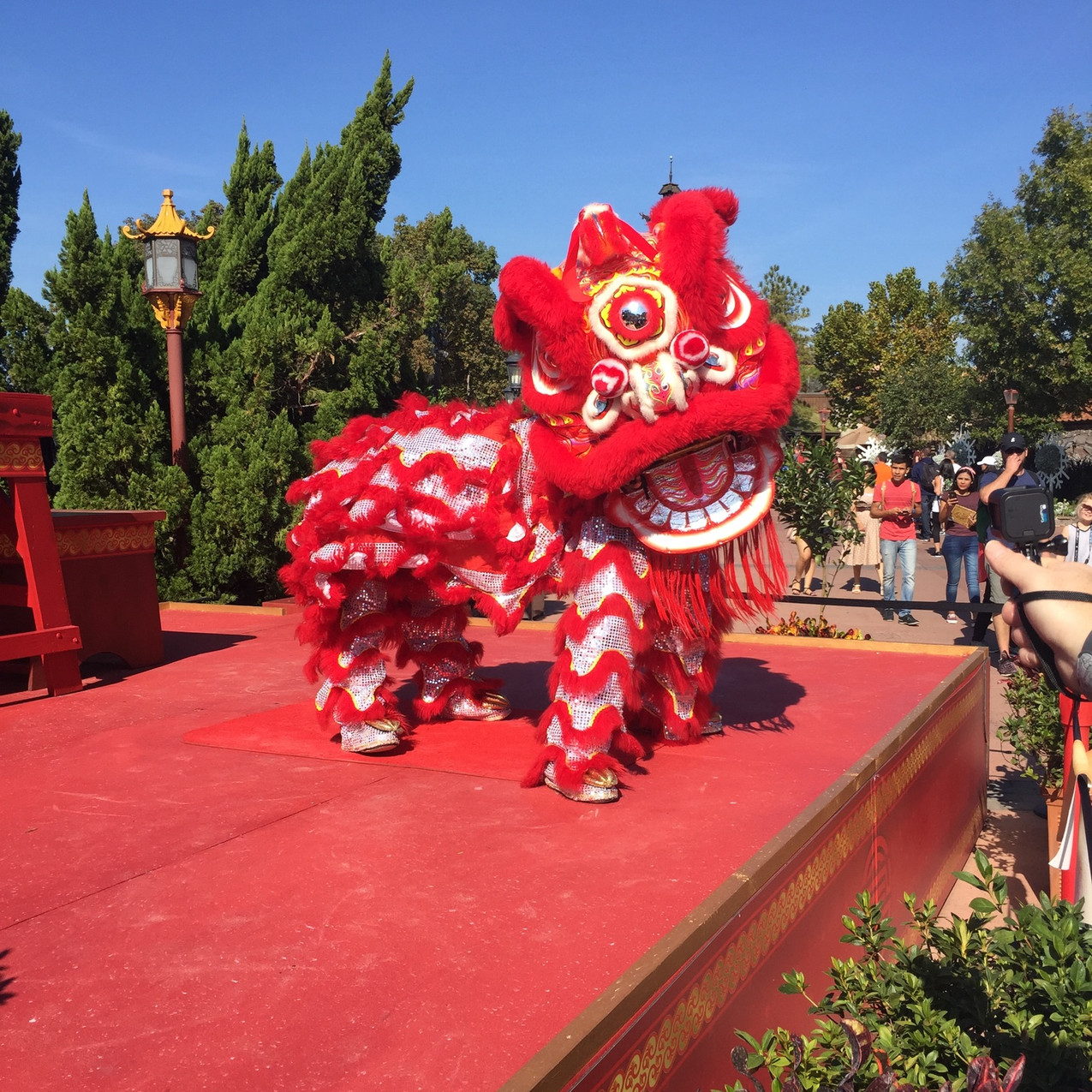 The Chinese Lion Dance features in Chinese New Year celebrations.
