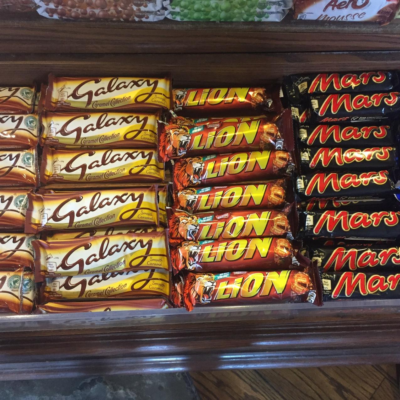 An array of British chocolate bars.