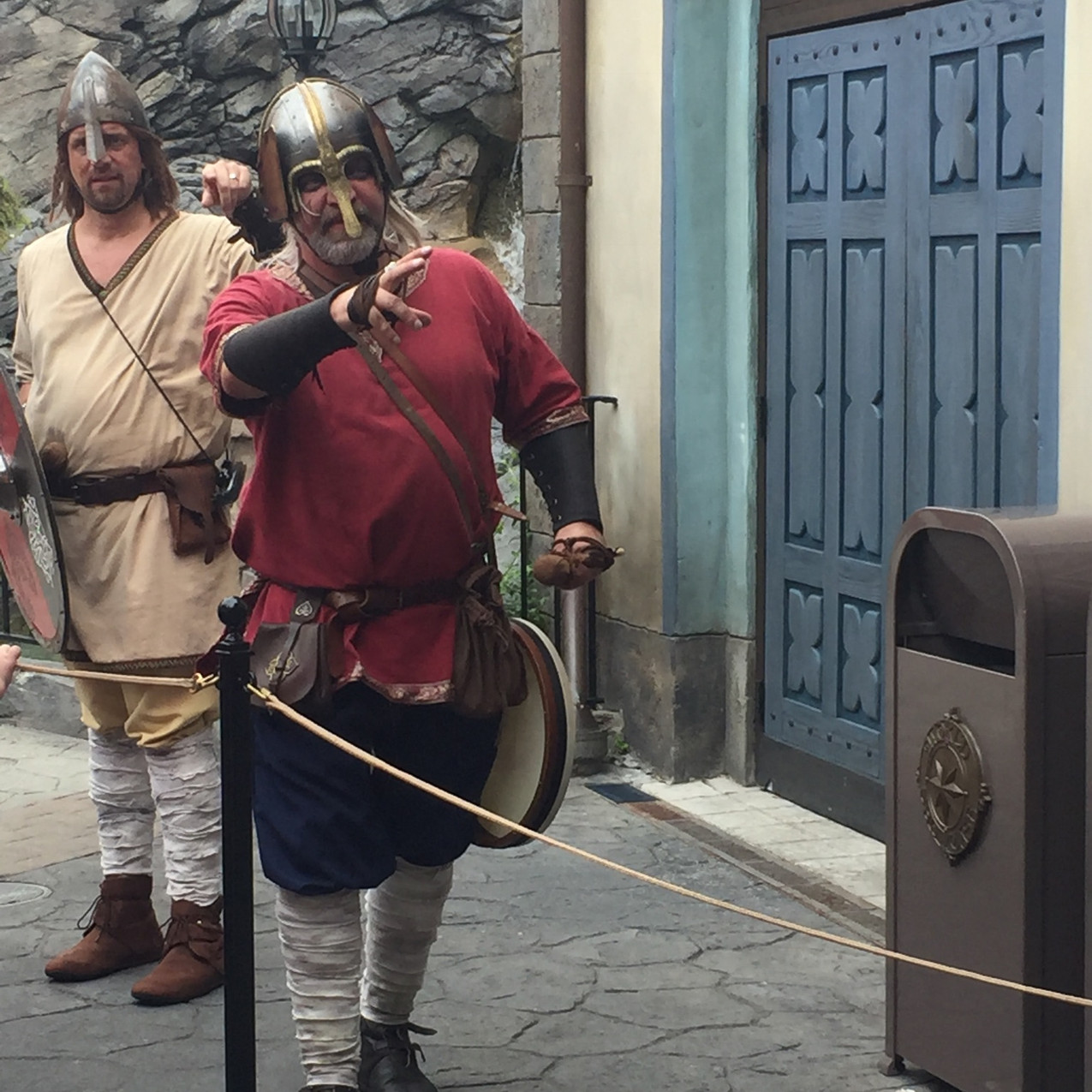 Vikings roam the streets of Norway for photos and fun.