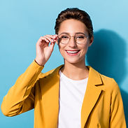 Photo of young attractive woman happy positive smile hand touch eyeglasses isolated over b