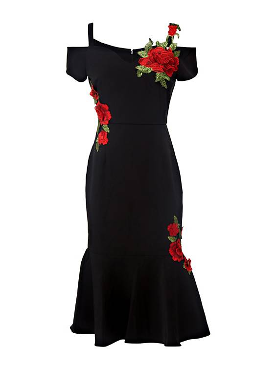 rose rosse per il dress Guess
