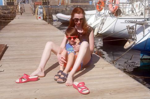 con mio figlio Ettore prima di salpare in barca