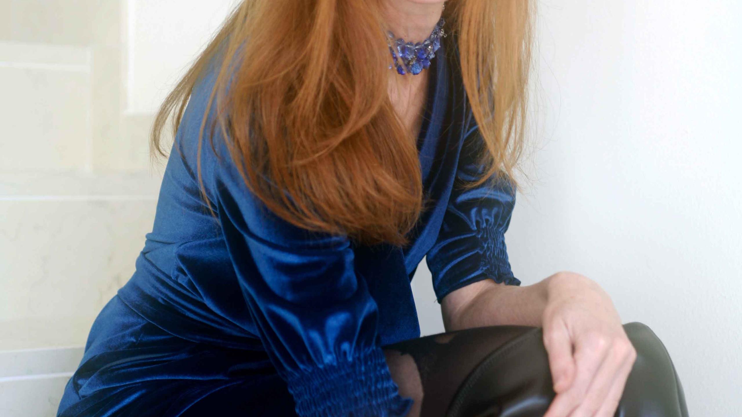 blu dress velvet