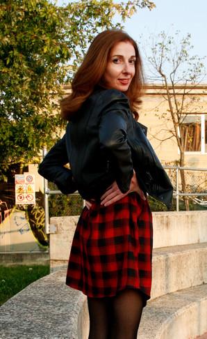 tartan mania più leather jacket