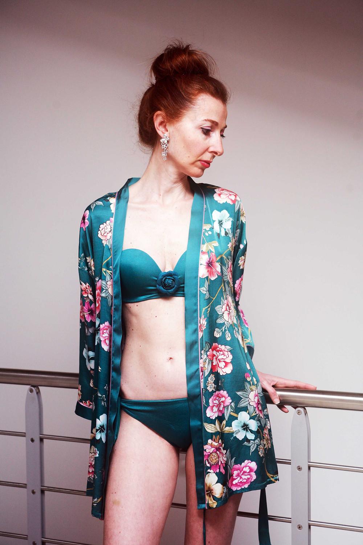 kimono floreale verde menta