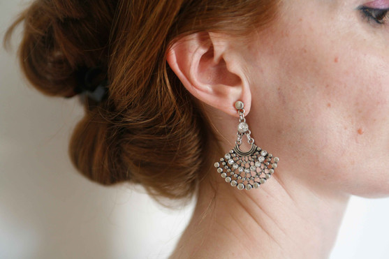 fan-shaped earrings