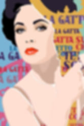 sexy elizabeth taylor portrait pop art cat on a hot tin roof
