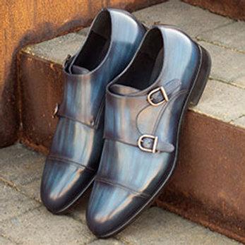 Patina Blue Double Strap Monk Shoes
