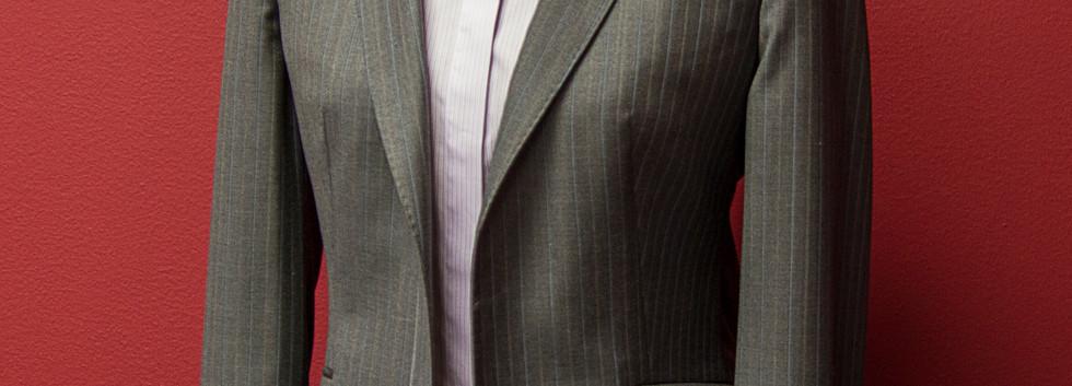 Medium gray blazer with purple striped s