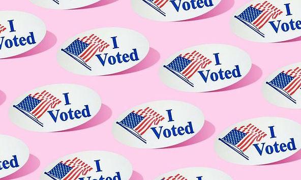Pink I Voted Sticker