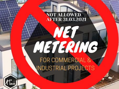 Net Metering will not be allowed for COMMERCIAL & INDUSTRIAL Projects after 31.03.2021 in Rajasthan