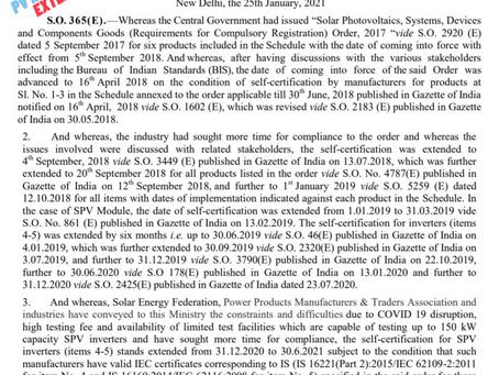 BIS Extension for SPV Inverter till 31.06.2021