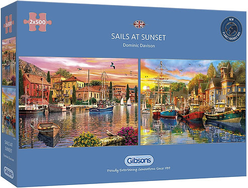 500PC PUZZLE - DOUBLE PACK - SAILS AT SUNSET - 5054